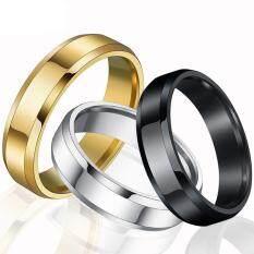 Bac 4 มม.ultrafine CLASSIC beveled Smooth Ring แหวนไทเทเนียมเหล็ก Trichromatic แบบง่าย