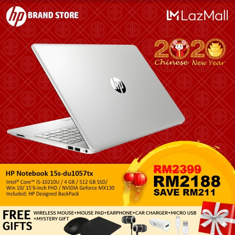 HP 15s-du1057tx/ 15s-du1058tx Notebook 9GB14PA Natural silver/ 9GB13PA Pale Gold /i5-10210U/4GB/512GB SSD/NV MX130-2GB/15.6-Inch FHD/Win10+Free Premium Gift Malaysia