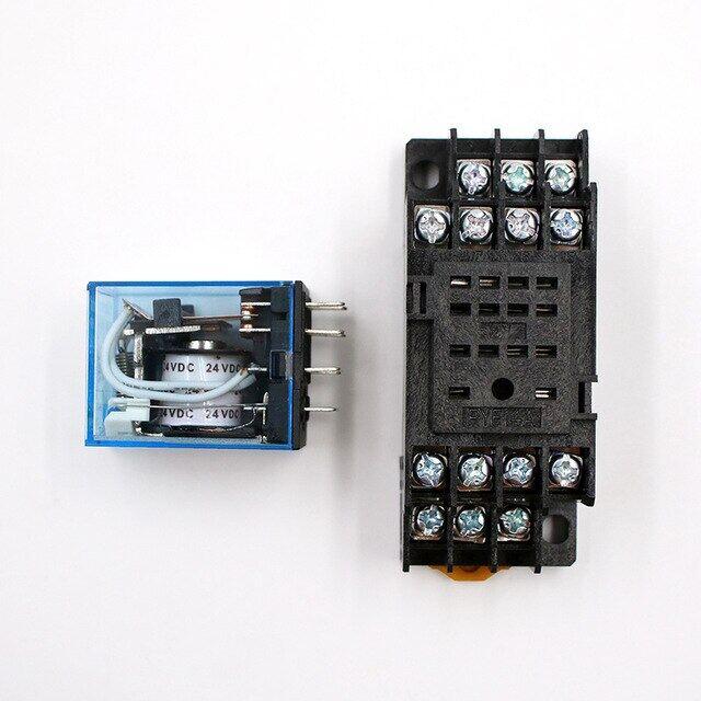 1 PC My4nj Điện Tử Micro Mini Rơle Điện Từ 5A 14pin Cuộn Dây 4 Dpdt Với Pyf14a Đui Đèn Dc12v 24 V Ac110v 220 V LED