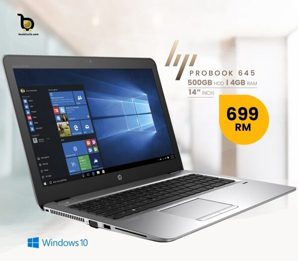 HP ProBook 645  ,  A4 -Processor,  500GB HDD ,4GB Ram , 14 Inch  Windows 10  Webcam And More.. Malaysia