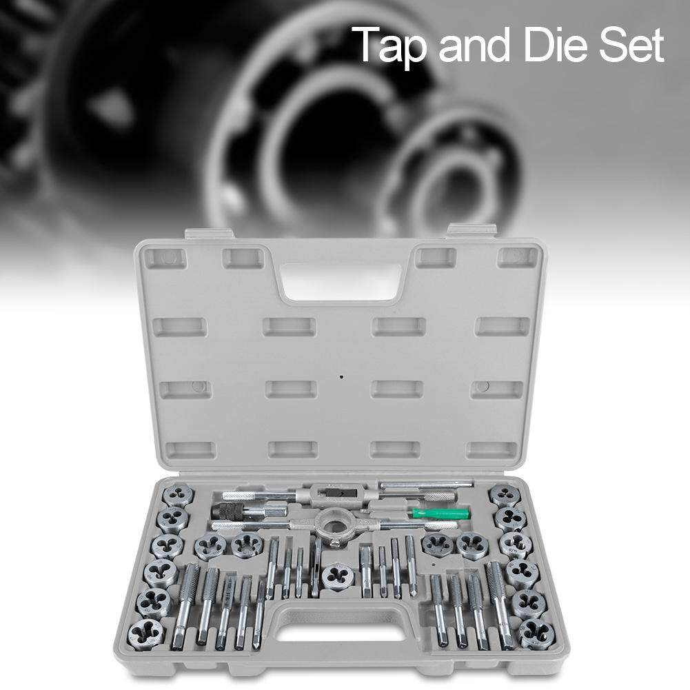 (Ready Stock)Qianmei 40Pcs M3-M12 Screw Nut Tap and Die Set with Wrenches and Thread Gauge Heavy Duty Hand Tools