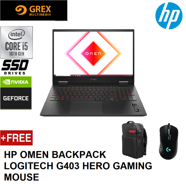 HP OMEN 15-EK0040TX GAMING LAPTOP (15-10300H,8GB,512GB SSD,15.6 FHD 144Hz,GTX1650 4GB,WIN10) FREE OMEN BACKPACK + LOGITECH G403 HERO GAMING MOUSE Malaysia
