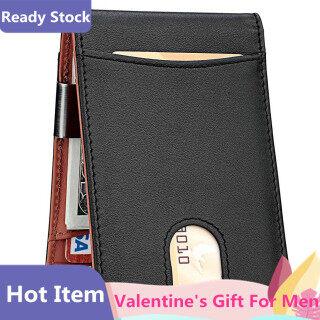 Hàng Có Sẵn , Quà Tặng Valentine Dành Cho Nam Giới Ví Kẹp Tiền Ví Đựng Thẻ Chặn RFID Mỏng Phía Trước Cho Nam Ví Gấp Đôi thumbnail