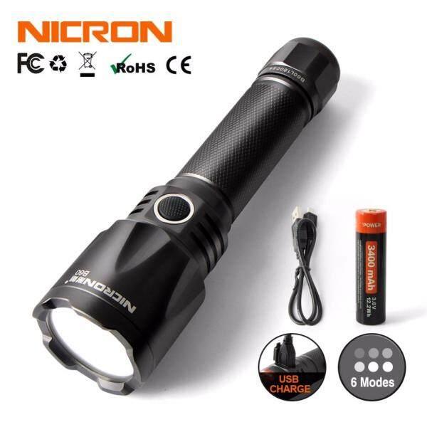 NICRON 9W Super High Brightness LED Flashlight Light Portable Waterproof IPX8 1000LM LED USB Torch Lantern B60