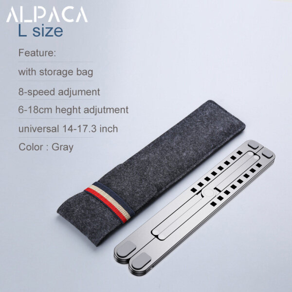ALPACA Portable Laptop Stand Folding Notebook Stand Holder For Macbook Lapdesk Adjustable Aluminum Alloy Computer Cooling Bracket