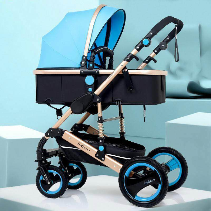 Luxury High View Baby Carriage Anti-shock Infant Stroller Newborn Infant Stroller with The Top Grade Single-Foot-Brake System Foldable Pushchair Singapore