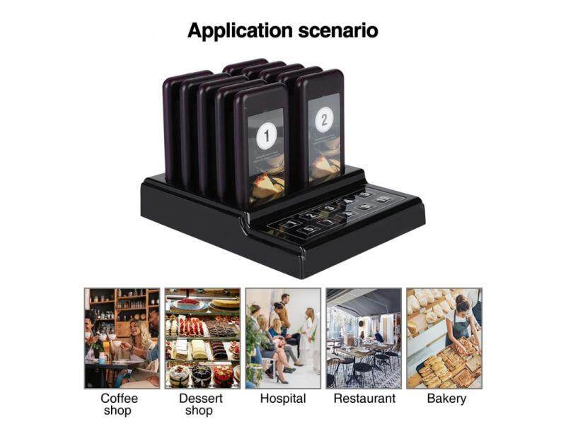 Restaurant Wireless Calling System 10 Pagers Long Range 3 Prompt Modes Malaysia