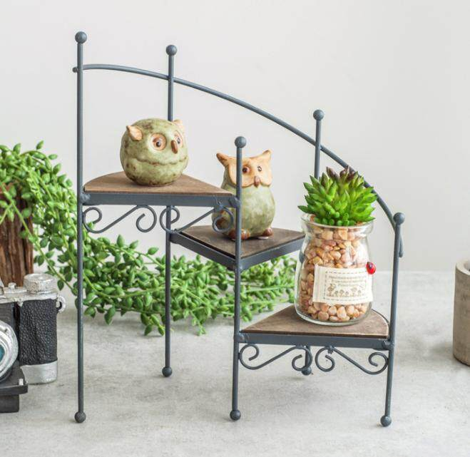 Rotating staircase flower stand Home fleshy small potted decoration floor rack