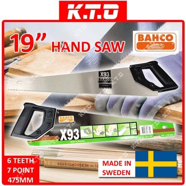 ORIGINAL BAHCO HAND SAW FLEAM X93 MADE IN SWEDEN IDEAL FOR TIMBER, PVC, PLASTIC, PLASTERBOARD ( 19 / 22 ) / GERGAJI