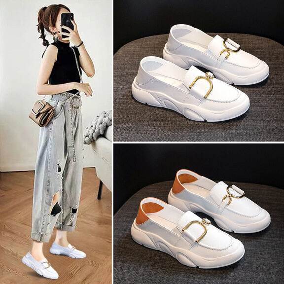 Giày nữ màu trắng mới thời trang khóa kim loại Giày lười sinh viên giày thường giá rẻ