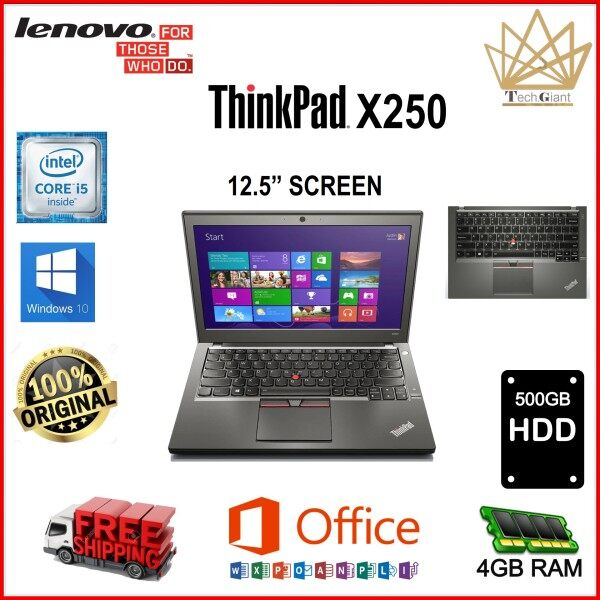 SLIM NOTEBOOK - LENOVO ThinkPad X250 CORE i5- 5300U / 4GB / 8GB DDR3 RAM / 128GB / 180GB / 256GB / 512GB / 1TB SSD / 500GB HDD / 1TB HDD 12.5 inch SCREEN / WINDOWS 10 PRO  / REFURBISHED Malaysia