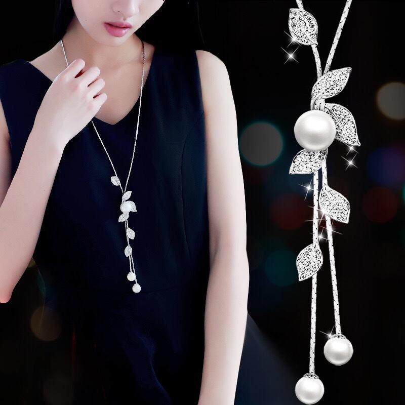 Simulated Pearl Long Necklaces For Women Jewelry Silver Color Sweater Chain Necklaces & Pendants Kolye Valentines