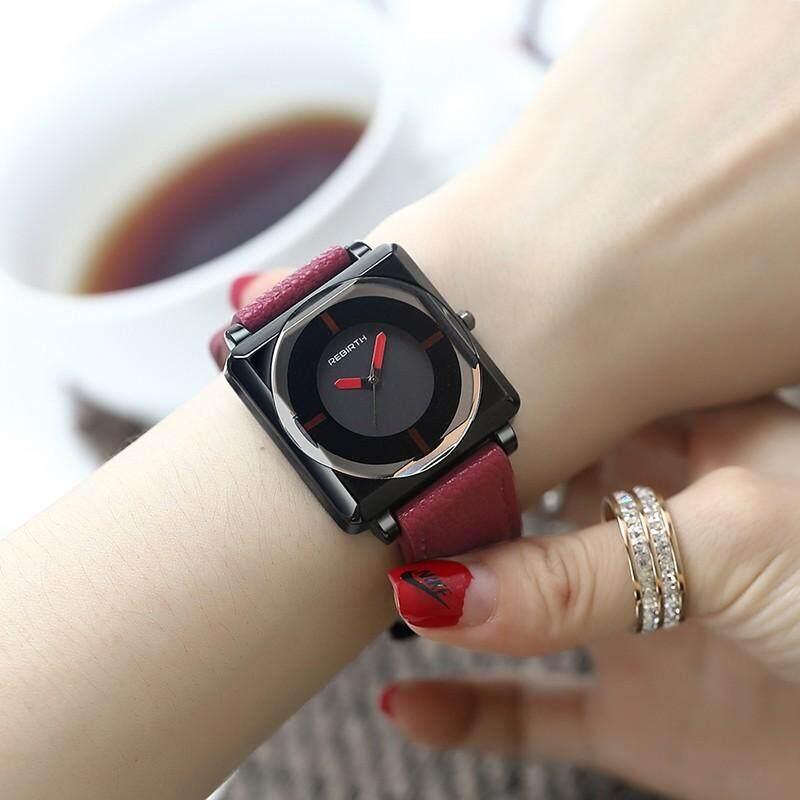 Nanxiangzi แฟชั่นผู้หญิงนาฬิกา Rebirth สแควร์เข็มขัดนาฬิกาผู้หญิงหนังกันน้ำกำไลข้อมือควอตซ์นาฬิกา + ฟรีของขวัญ (แฟชั่นสำหรับผู้หญิงสร้อยข้อมือเพชร).