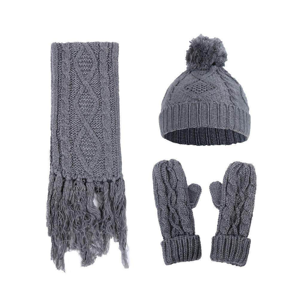 a481c6fc4 OutFlety Winter Women Warm Scarf Wrap Hat Gloves Set Knitted Knitting  Three-Piece Set For