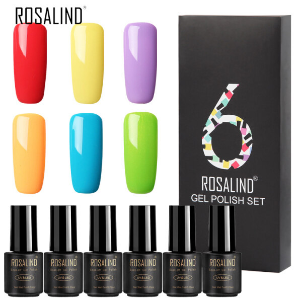 Rosalind 6 Cái Gel Nail Polish Set Gel Polish Nail Kit UV Gel Set Cho Gel Varnish Manicure Set Uv Cho Nail Art Uv Gel Nail Polish giá rẻ
