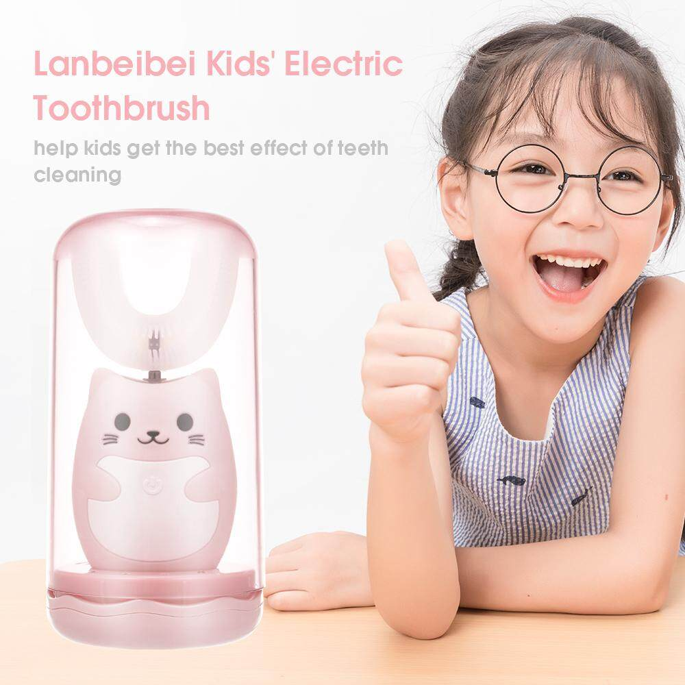 Lanbeibei Kids' Electric Toothbrush U Shape Smart Sonic Rechargeable with A Cup Silicone Soft Bristles 3 Modes for Selection Timer & Memory Function for Toddlers & Kids Pink 1#