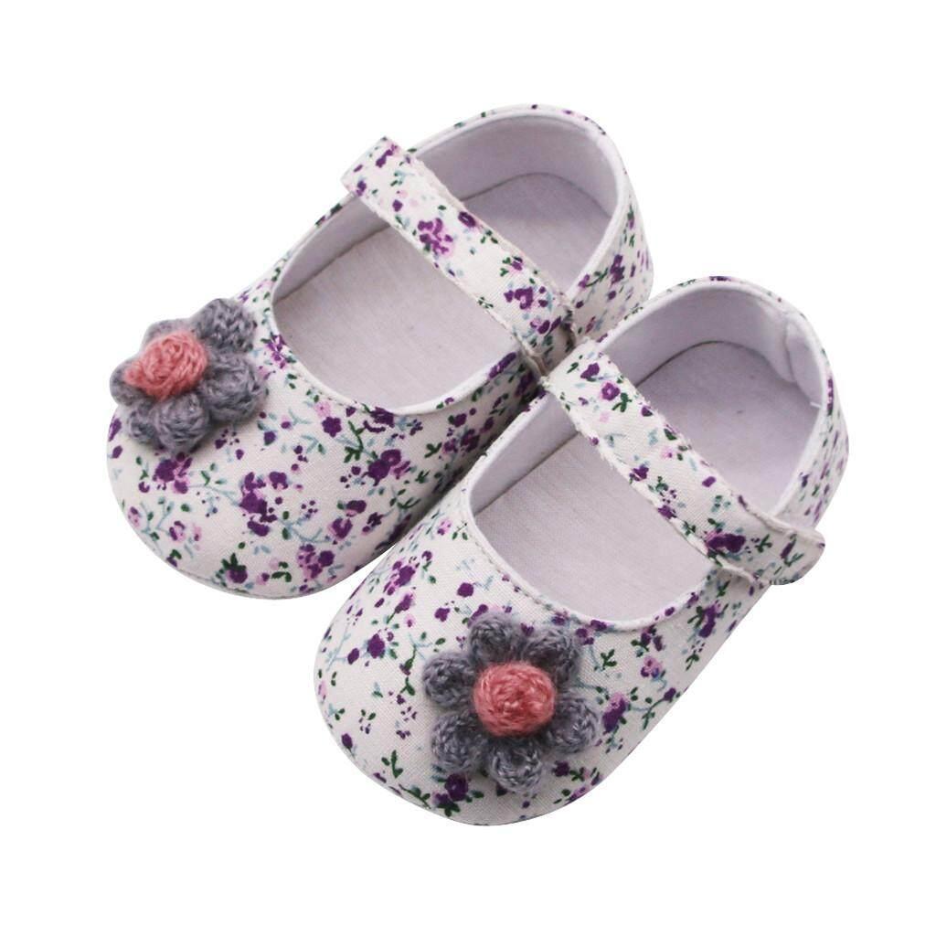 (TWINKLE) Newborn Baby Girls Flowers Printing Applique Prewalker Soft Sole Single Shoes