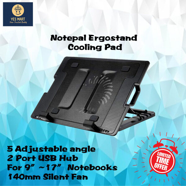 Notepal Ergostand laptop cooler 13 14 15 16 17 inch notepal pad big silent fan  2 port usb hub 5 adjustable angle Malaysia