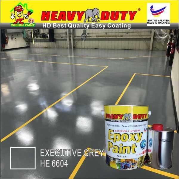 EXECUTIVE GREY HE6604 ( 5L ) HEAVY DUTY EPOXY BRAND Two Pack Epoxy Floor Paint - 4 Liter Paint + 1 Liter hardener