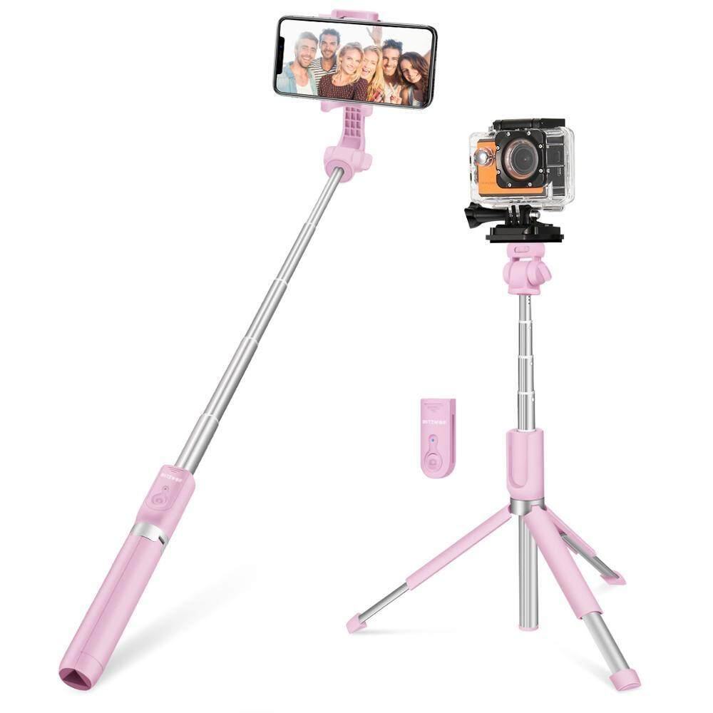 bluetooth Handheld Tripod Selfie Stick Extendable Monopod for Gopro 5 6 7 1/4' Sports Camera For Smartphones