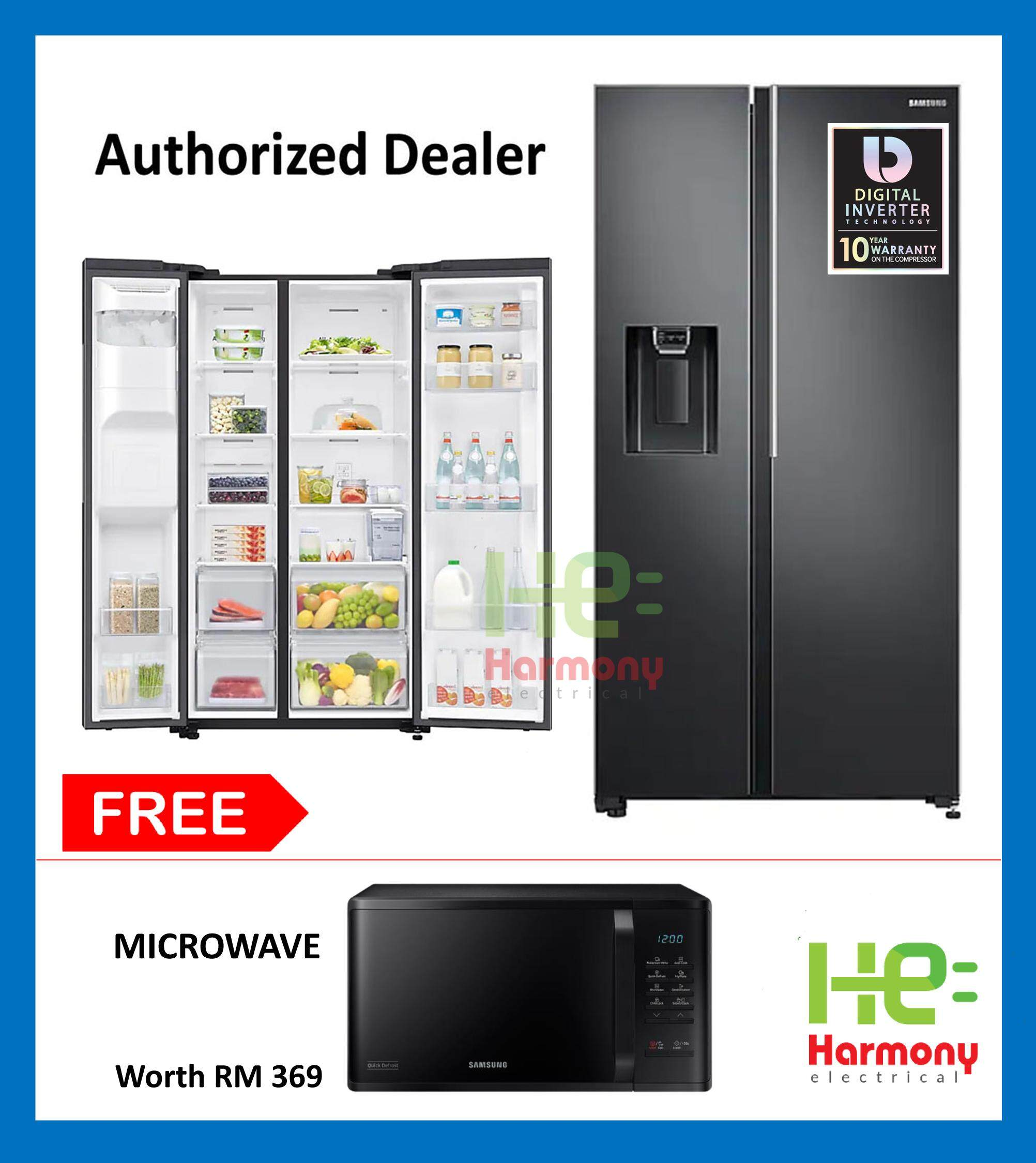 Samsung 660L Side by Side Fridge with Large Capacity (SpaceMax) FlexZone RS64R5101B4/ME + Free Samsung Microwave MS23K3513AK/SM Worth RM369 ( Peti sejuk )