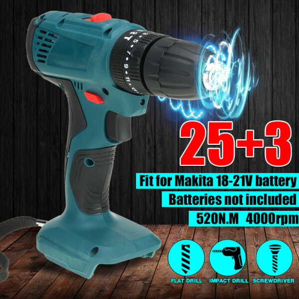【3-IN-1】520N.m 25 + 3 Speeds Brushless Cordless Electric Impact Drill Multi-functional 4000rpm Electric Drill with Impact Function Electric Screwdriver -Adapt to 18V Makita Battery