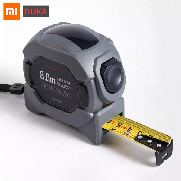 Xiaomi Ecological Chain DUKA Precision Steel Tape 8.0M Max Measuring Frosted Retractable Ruler Rubberized Fall-resistant Stainless Steel Hook Measurement Automatic Lock Micro U-shape Surface Household Measuring Tool For Home Outdoor Decoration