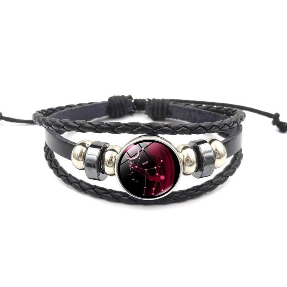 Outflety Rasi Gelang Retro 12 Rasi Beaded Kulit Anyaman Tangan Hadiah Ulang Tahun Gelang Perhiasan untuk Pria dan Wanita dari Segala Usia, remaja Perempuan, Anak Laki-laki
