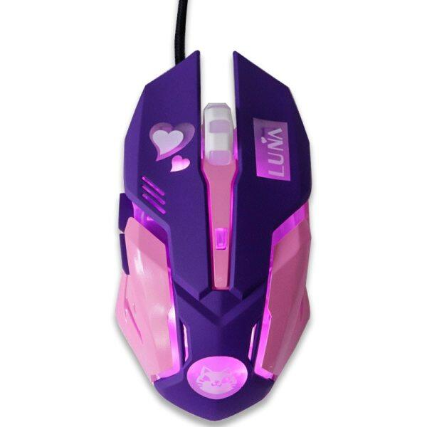 【Hot】USB Wired Gaming Mouse Pink Computer Professional E-sports Mouse 2400 DPI Colorful Backlit Silent Mouse for Lol Data Laptop Pc Malaysia