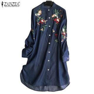 Đầm sơ mi tay dài thêu hoa tinh tế tà bất đối xứng trẻ trung nữ tính ZANZEA chất liệu cotton thoáng mát thumbnail