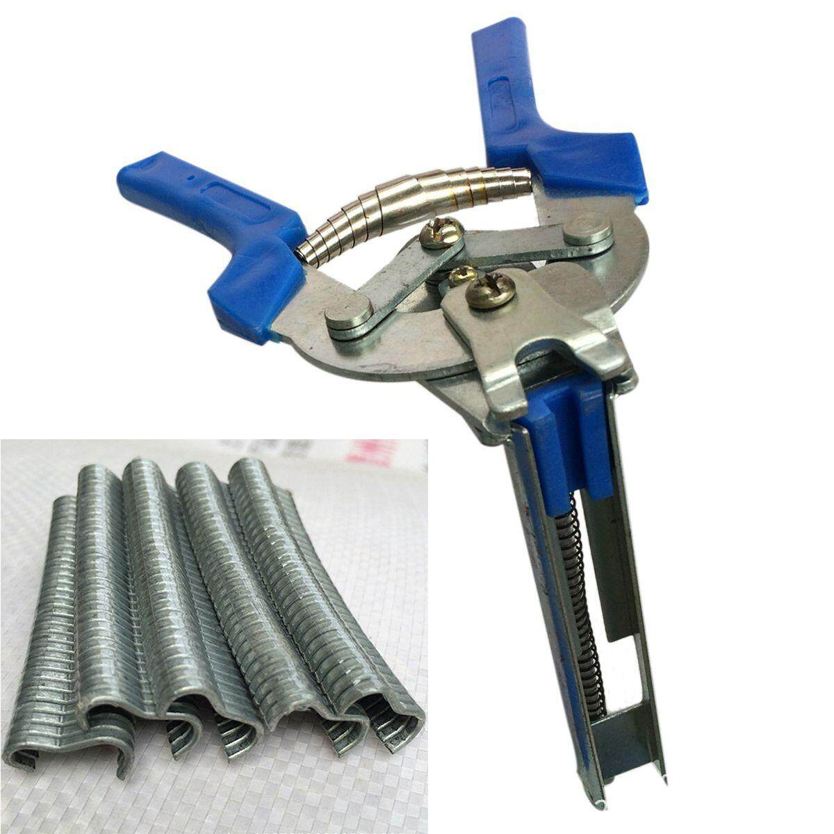 1pc Hog Ring Plier Tool and 600pcs M Clips Chicken Mesh Cage Wire Fencing Crimping Solder Joint Welding Repair Hand Tools