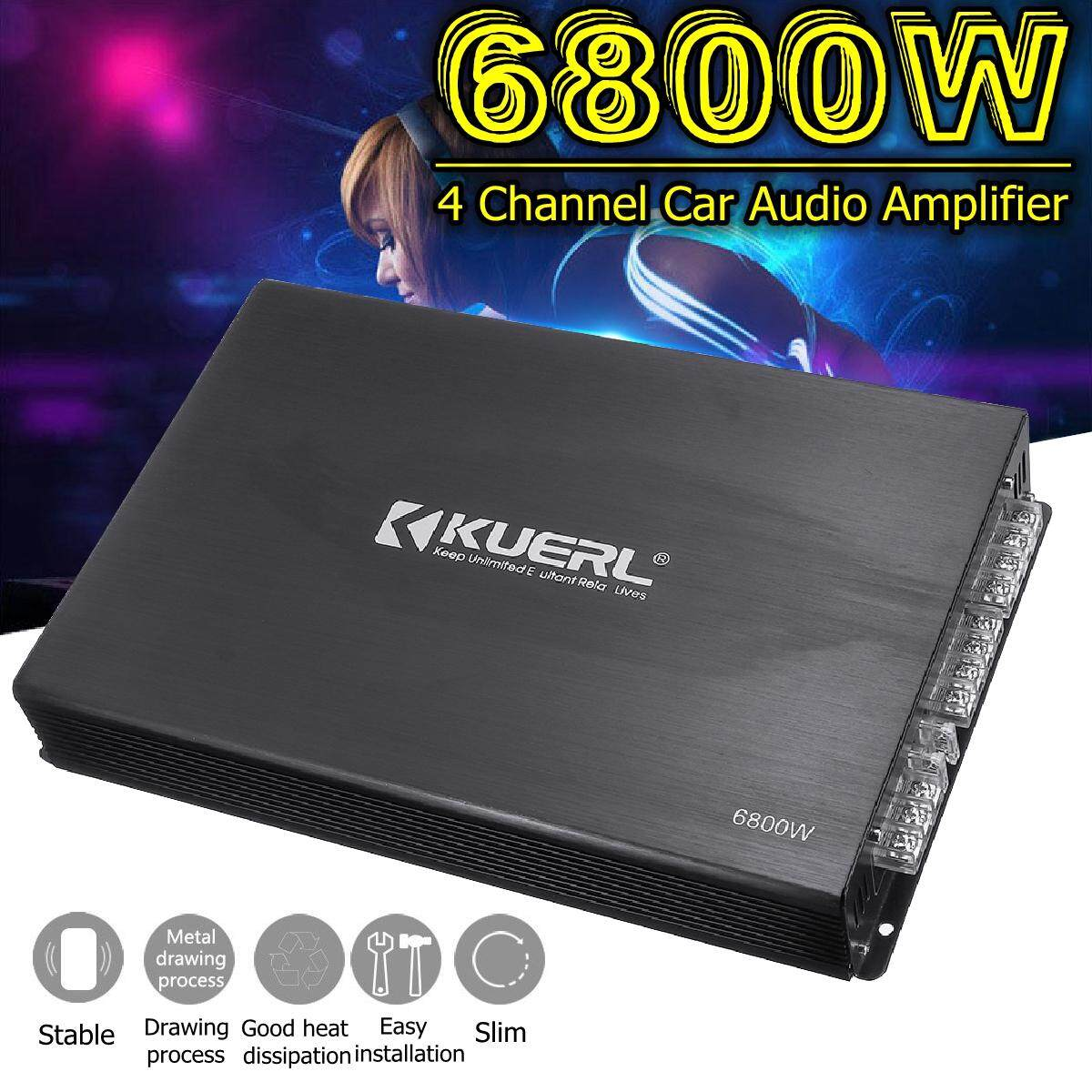 12V 6800W 4 Channel System Amplifiers Car Amplifier Bridge Connection Bass Audio AMP Power Stereo Surround Subwoofer Music with 4 Speaker Holes