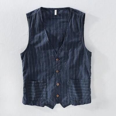 Áo Vest Vải Lanh Cổ Điển Cho Nam Chất Liệu Mỏng 55% Vải Lanh + 45% Vải Bông, Áo Ghi Lê Mỏng Kẻ Sọc Thường Ngày Cho Nam M-3XL Cỡ Châu Á