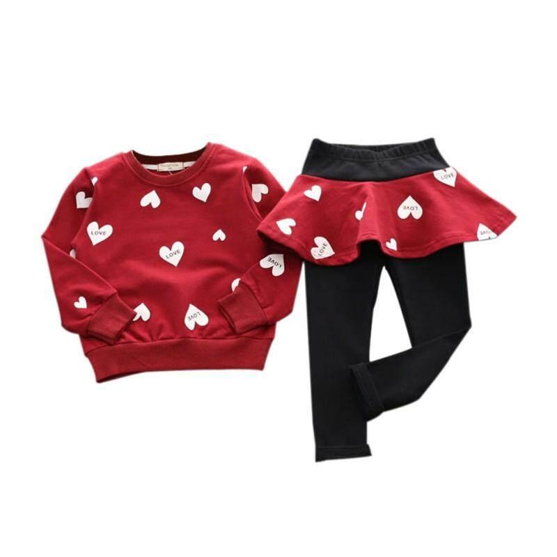 Long Pantskirts 2pcs Toddler Little Girls Clothes Set Outfits Heart Print Sweatshirts Top