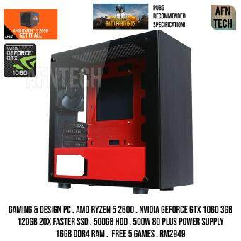 GAMING PC AMD RYZEN 5 2600 NVIDIA GEFORCE GTX 1060 3GB GDDR5X 16GB DDR4 RAM PUBG MAX