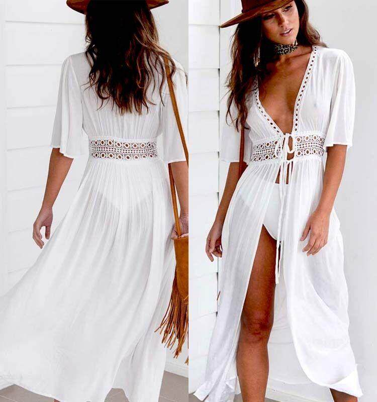 f78b0372244 Women Beach Bikini Cover up Long Kaftan dress Summer Boho Maxi Dress  Swimwear