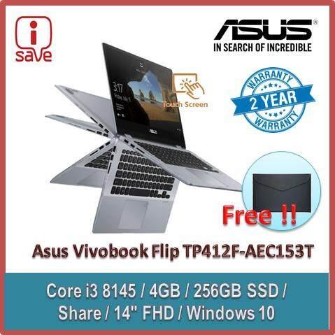 ASUS VivoBook Flip 14 TP412F-AEC153T 14 FHD Touch Laptop Grey ( I3-8145U, 4GB, 256GB,14inch touchscreen, Intel, W10 ) Malaysia