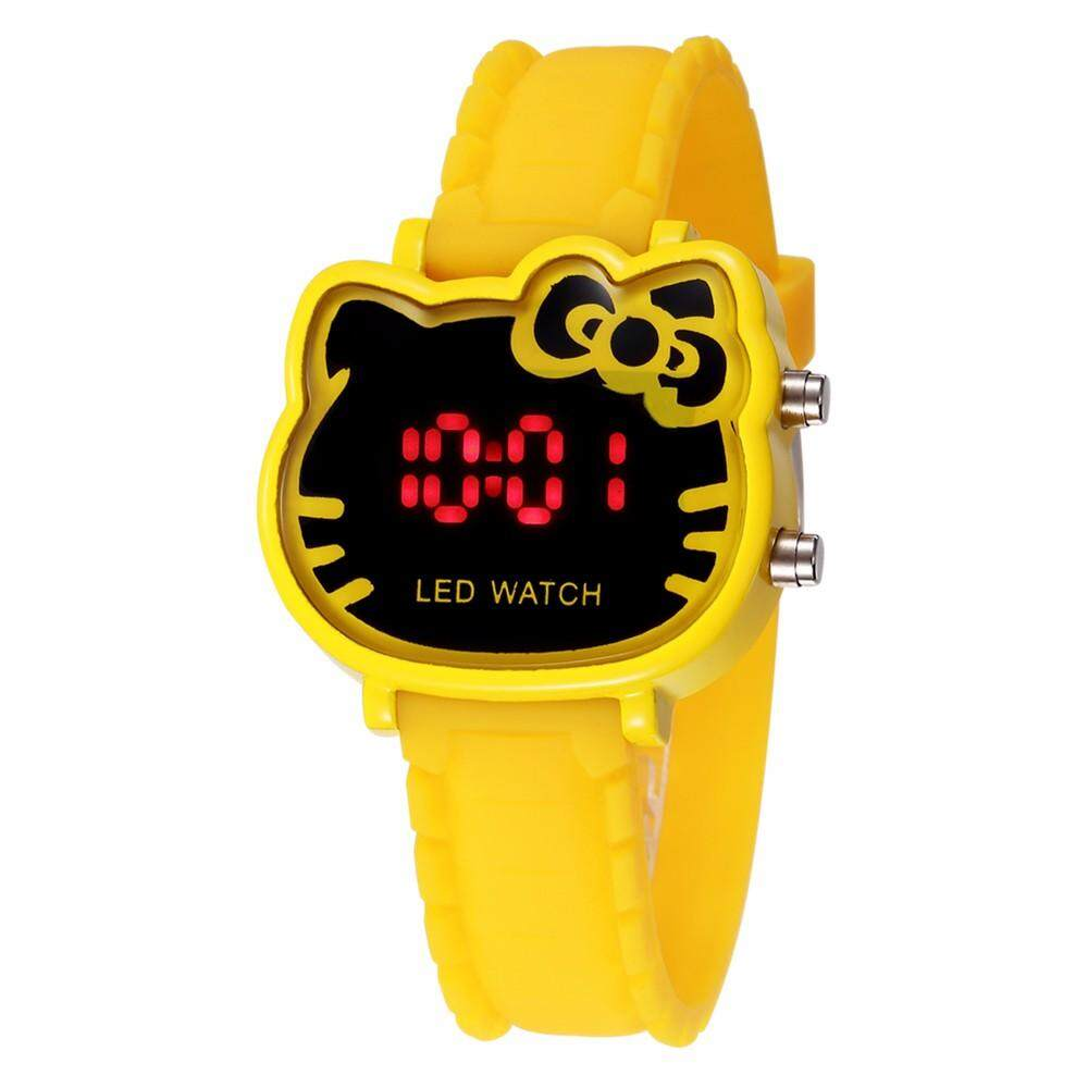 Pink Cute Hello Kitty Children Watches Fashion Cartoon Cat Girl Clock Femme Rejores Ladies Dress Saats Enfant Hours Hodinky Malaysia