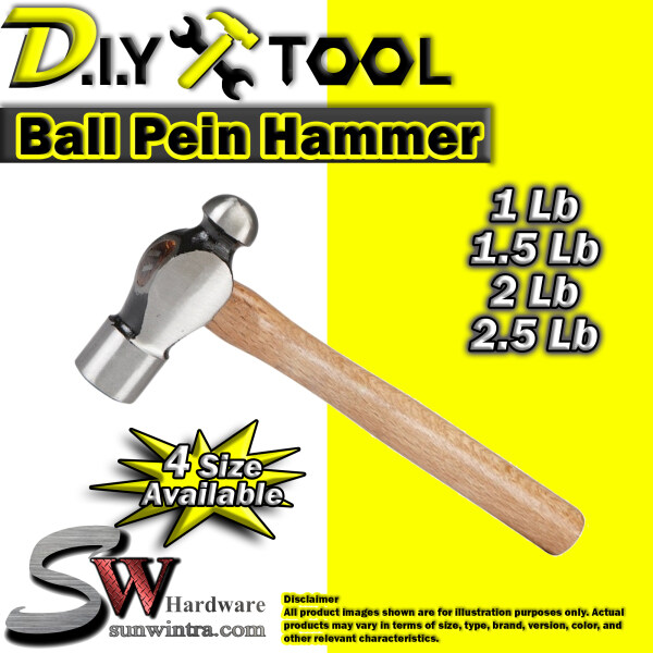 SW Hardware [Heavy Duty] Ball Pein Hammer with Solid Wood Handle (Different Size Available)
