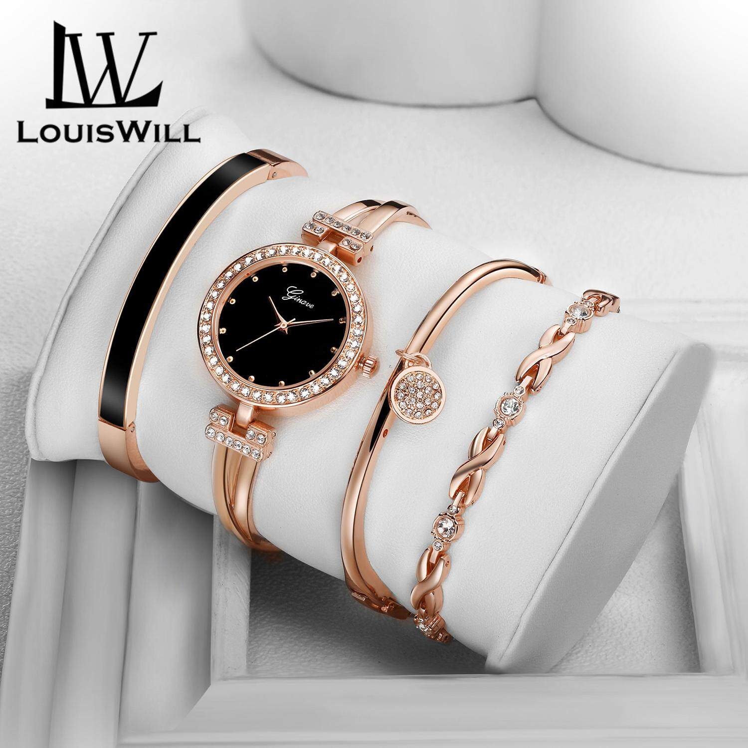 LouisWill Women Fashion Watch Casual Watches Women Wristwatch 4 in 1 Watches Quartz Alloy Plating Watches Female Watches with Gift Box Malaysia