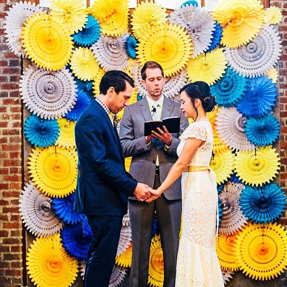 〖Free Shipping〗ackeryshop Bunga Ulang Tahun Dekorasi Pernikahan Kipas Tisu Roda Latar Belakang Kincir Kertas