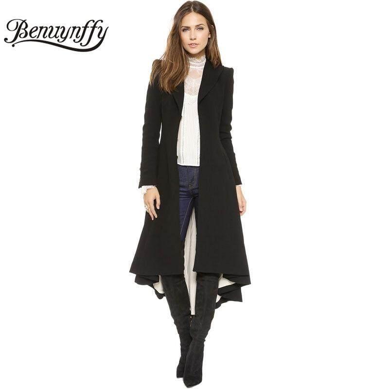 08dbbd54a86 Autumn Winter Women Plus Size Long Swallowtail Goth Coat Ladies Vintage  Elegant Black Woolen Overcoat Female