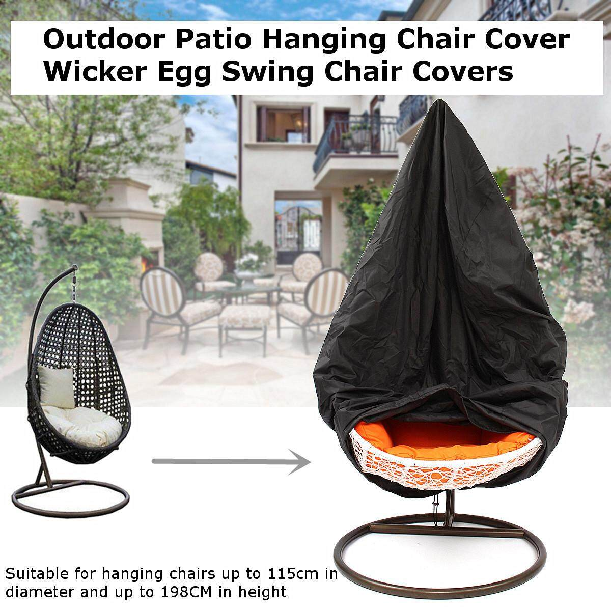 Outdoor Patio Hanging Chair Cover Wicker Egg Swing Chair Covers Heavy Duty Waterproof 78 H x 45D