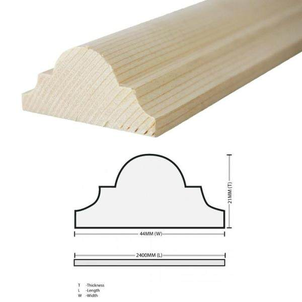 Pine Wood Timber DS175 Moulding Decorative Wainscoating 21MM T x 44MM W x 2400MM L