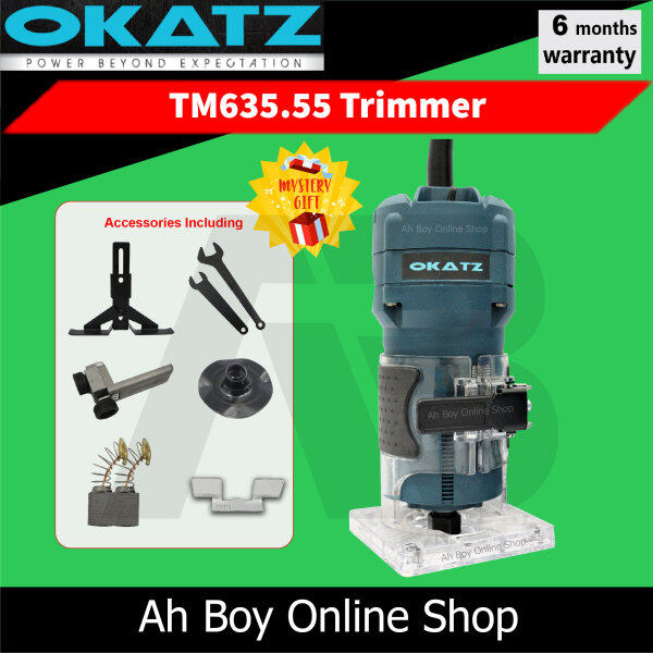 OKATZ TM635.55  ¼'' 6mm Wood Trimmer Palm Router (550W) F.O.C Carbon Brush