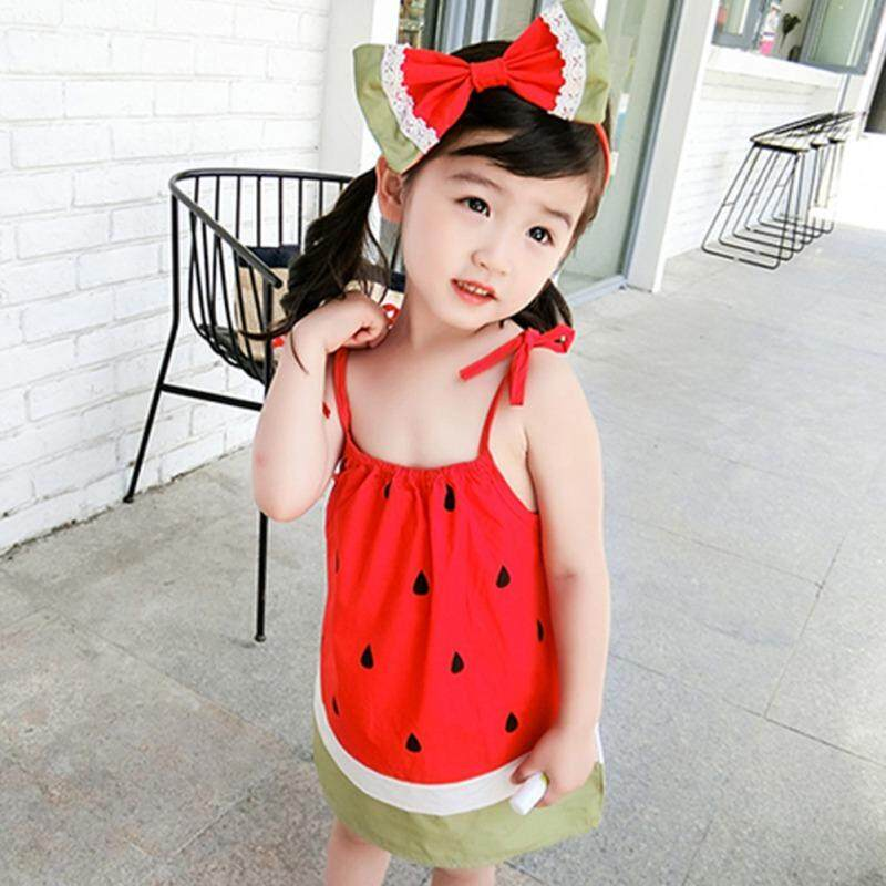 be3a0aaba4c5b Cute Sling Kids Girls Dresses Watermelon Summer Baby Girls Sleeveless Dress  100% Cotton Children Clothing Fashion frock