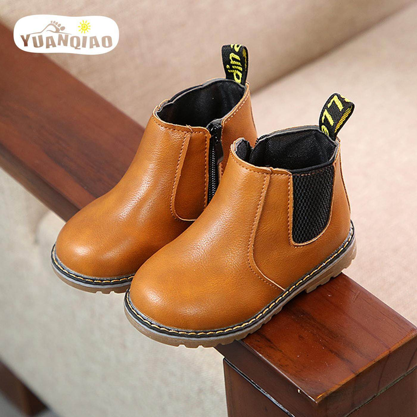 bee7dd871ac8 YUANQIAO Children Shoes Non-slip Side Zip Boys Girls Martin Boots Kids  Students Boots 2