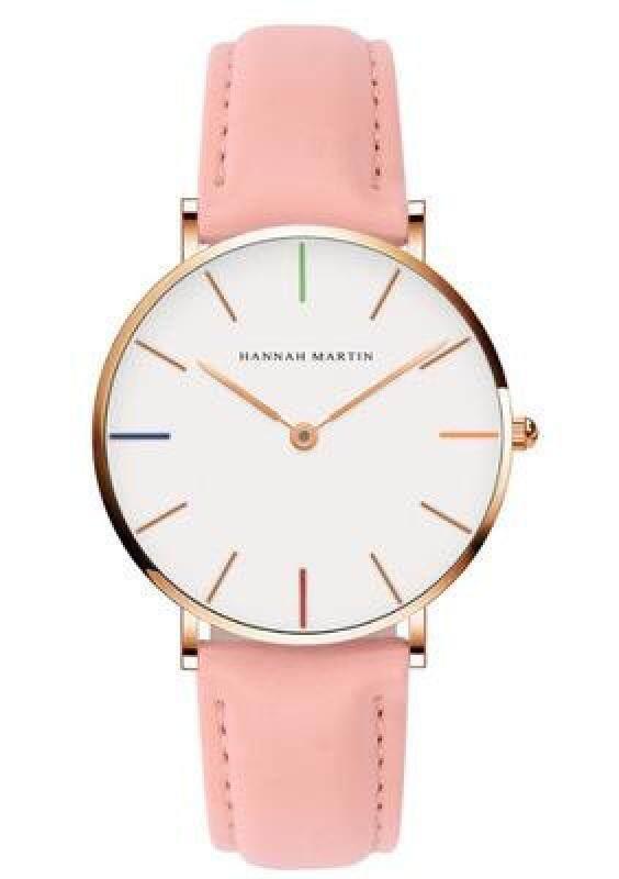 2019 HM New Designer HANNAH MARTIN Classical White Women Ladies Brand Fashion Casual Quartz Leather Nylon Watches Malaysia