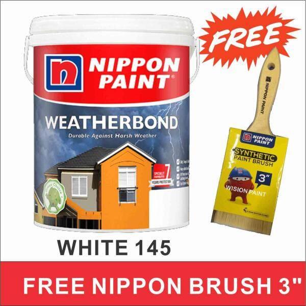 5L WHITE 145 Nippon Paint Exterior Weatherbond ( FREE BRUSH 3  NIPPON )