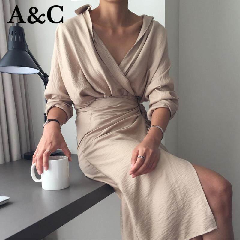 A & C ชุดสำหรับสตรีผู้หญิงสีทึบชุดลำลองถุงไม่ธรรมดา Hip สาย V คอชุดยาวแฟชั่น Comfortable【free 】 By A&c Official Store.